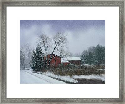 Snowy Road With Barn Framed Print by Linda Seifried