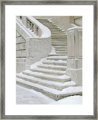 Snowy Steps Framed Print by Ann Horn