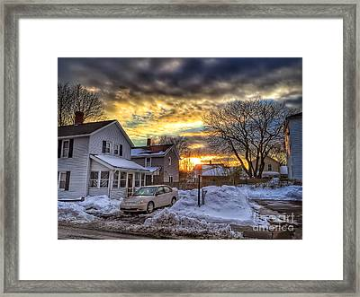 Snowy Sunset Framed Print by HD Connelly