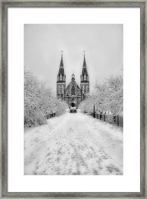 Snowy Villanova In Black And White Framed Print by Bill Cannon