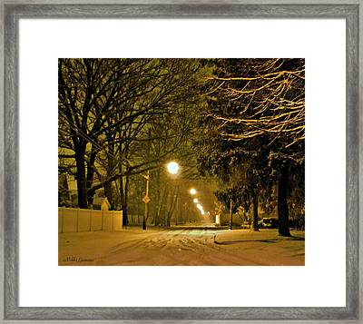 Snowy Winter Night Framed Print by Mikki Cucuzzo