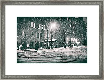Snowy Winter Night - Sutton Place - New York City Framed Print by Vivienne Gucwa