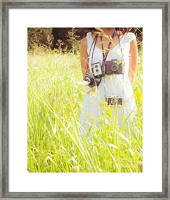 So Many Cameras So Little Time Framed Print by Sonja Quintero