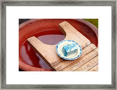 Soap And Wooden Washboard Framed Print by Gaspar Avila