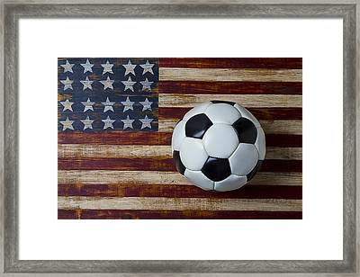 Soccer Ball And Stars And Stripes Framed Print by Garry Gay