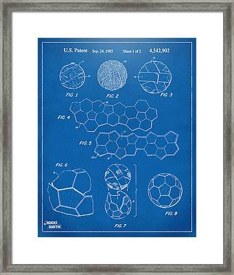 Soccer Ball Construction Artwork - Blueprint Framed Print by Nikki Marie Smith