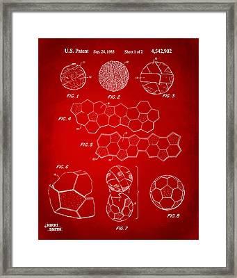 Soccer Ball Construction Artwork - Red Framed Print by Nikki Marie Smith
