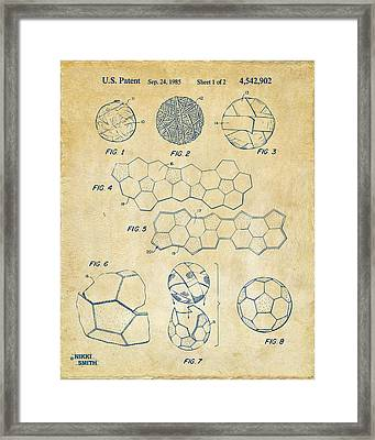 Soccer Ball Construction Artwork - Vintage Framed Print by Nikki Marie Smith