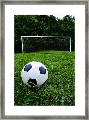 Soccer Ball On Field Framed Print by Paul Ward