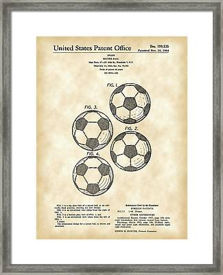 Soccer Ball Patent 1964 - Vintage Framed Print by Stephen Younts