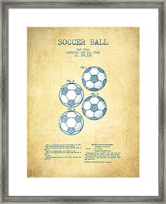 Soccer Ball Patent Drawing From 1964 - Vintage Paper Framed Print by Aged Pixel