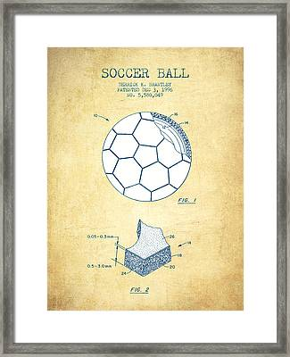 Soccer Ball Patent Drawing From 1996 - Vintage Paper Framed Print by Aged Pixel