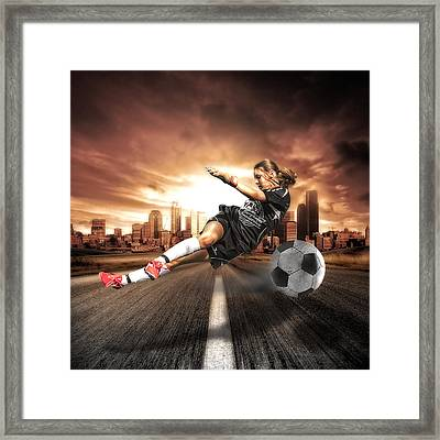Soccer Girl Framed Print by Erik Brede