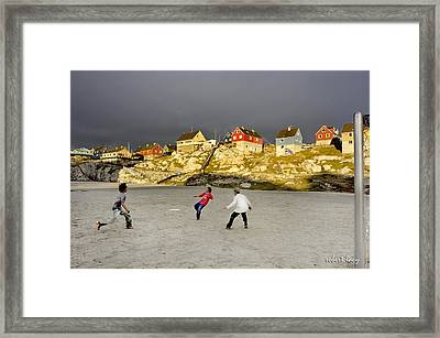 Soccer In Greenland Framed Print by Robert Lacy