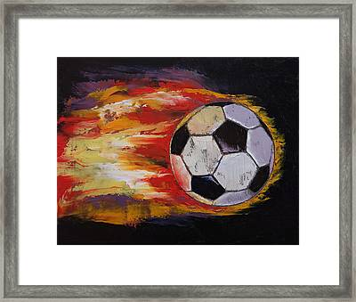 Soccer Framed Print by Michael Creese