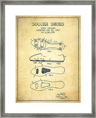Soccer Shoe Patent From 1967 - Vintage Framed Print by Aged Pixel