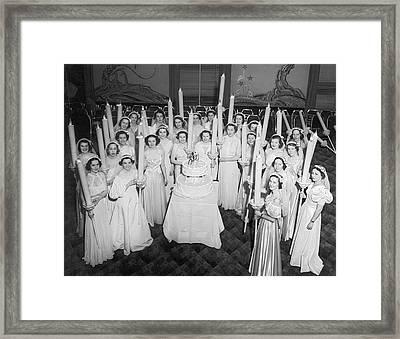 Society Girls At Birthday Ball Framed Print by Underwood Archives