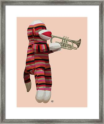 Sock Monkey And Trumpet Framed Print by Kelly McLaughlan