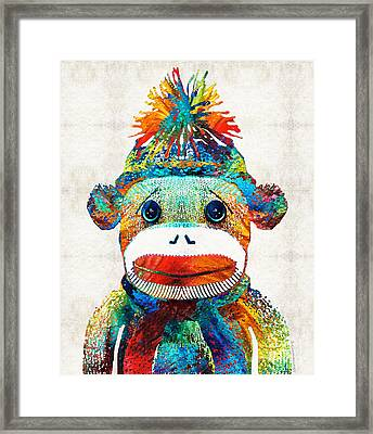 Sock Monkey Art - Your New Best Friend - By Sharon Cummings Framed Print by Sharon Cummings