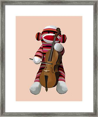 Sock Monkey With Cello Framed Print by Kelly McLaughlan