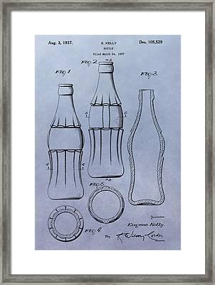 Soda Bottle Patent Framed Print by Dan Sproul
