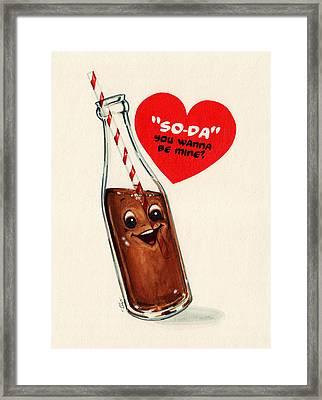 Soda Pop Valentine Framed Print by Kelly Gilleran