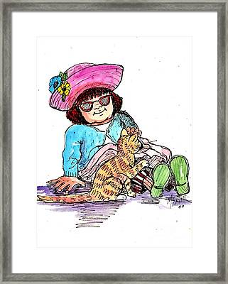 Sofie And Mittens Framed Print by Marilyn Smith