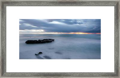Soft Blue And Wide Framed Print by Peter Tellone