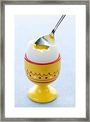 Eat Free Framed Print featuring the photograph Soft Boiled Egg In Cup by Elena Elisseeva