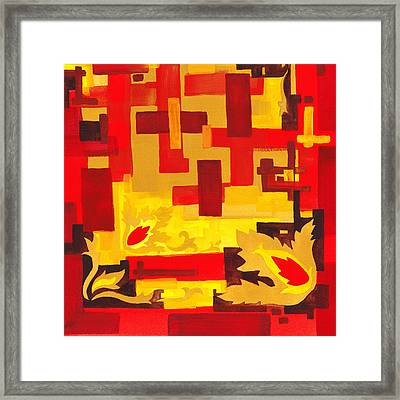 Soft Geometrics Abstract In Red And Yellow Impression I Framed Print by Irina Sztukowski