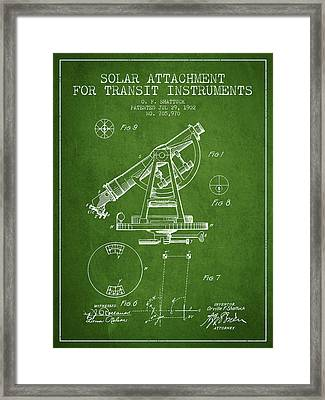 Solar Attachement For Transit Instruments Patent From 1902 - Gre Framed Print by Aged Pixel