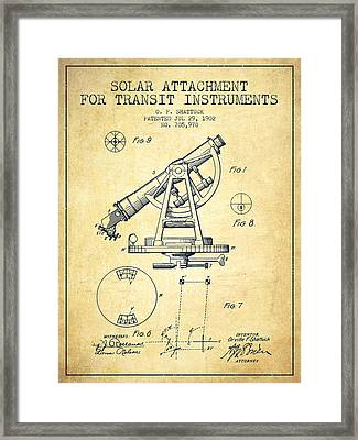 Solar Attachement For Transit Instruments Patent From 1902 - Vin Framed Print by Aged Pixel