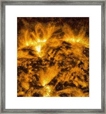 Solar Flare On The Sun Framed Print by Dan Sproul