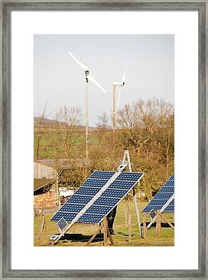 Solar Panels And Wind Turbines Framed Print by Ashley Cooper