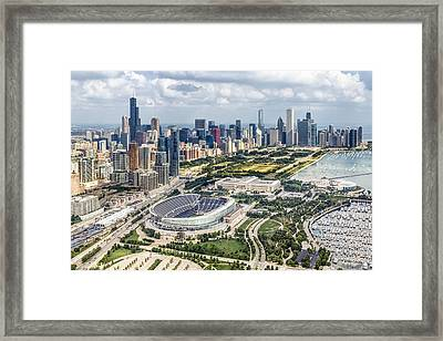 Soldier Field And Chicago Skyline Framed Print by Adam Romanowicz