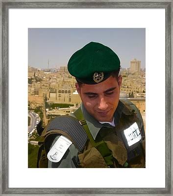 Soldier Of The Golden City Framed Print by Sandra Pena de Ortiz