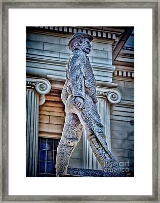 Soldier Statue Hdr Alabama State Capitol Framed Print by Lesa Fine