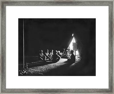 Soldiers At Camp At Night Framed Print by Underwood Archives