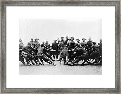 Soldiers Have Tug Of War Framed Print by Underwood Archives