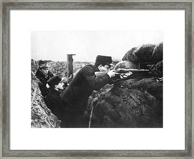 Soldiers In First Trenches Framed Print by Underwood Archives