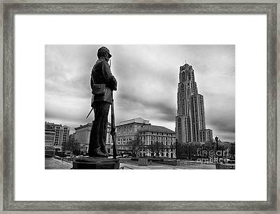 Soldiers Memorial And Cathedral Of Learning Framed Print by Thomas R Fletcher
