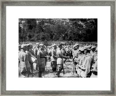 Soldiers Receive Iron Crosses Framed Print by Underwood Archives