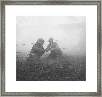 Soldiers Repairing Telephone Wire Framed Print by Ny State Military Museum