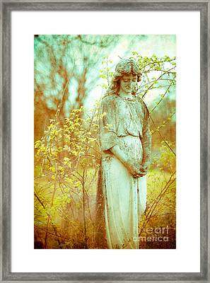 Solemn Cemetery Statue Framed Print by Sonja Quintero