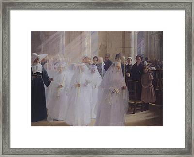 Solemn Communion Framed Print by Jules Triquet