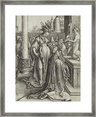 Solomon Prays In Front Of A Graven Image Framed Print by Lucas van Leyden