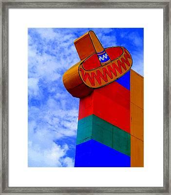Sombrero Sign Framed Print by Randall Weidner
