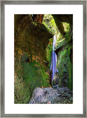 Sombrio Beach Waterfall Framed Print by Heather K Jones