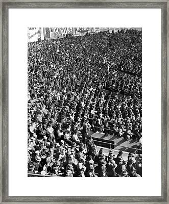 Baseball Fans At Yankee Stadium In New York   Framed Print by Underwood Archives
