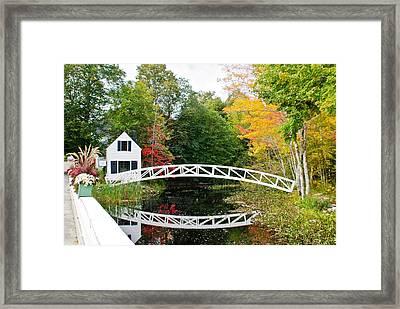 Somesville Bridge In Autumn Framed Print by Lena Hatch